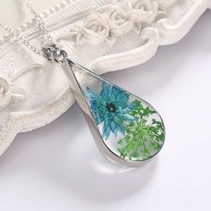 Pressed Blue Flower in Glass Tear Necklace